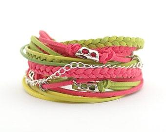 Coral Wrap Bracelet, Green Coral Boho bracelet, Hippie Bracelet, Gypsy Bracelet, Bohemian Jewelry, gift for her, double wrap bracelet