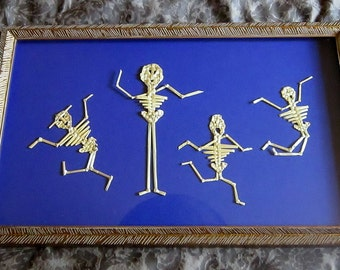 Vintage Framed Bamboo Family Midnight Blue Background Original Professionally Framed Dancing People