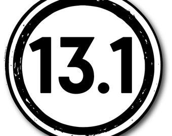 13.1 Half Marathon Vinyl Car Decal FREE SHIPPING