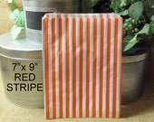 SALE Remaining 25 Red Candy Stripe Sweet Shop Bags 7 x 9 Old Fashioned Candy Stripe Paper Gift Bags, Merchandise, Favors, Treats