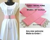 Belt, Wide Elastic Belt, Wide Belt, Wide Cinch Belt, Waist Cincher Pink