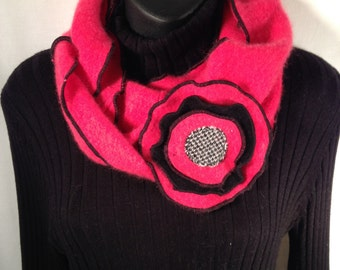 Red, black, grey, cashmere infinity scarf