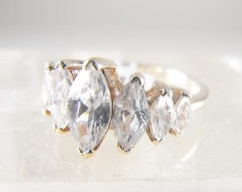 Sterling Ring CZ Pavillion Design Dramatic Marquis Cut CZs Marked Sterling Mount
