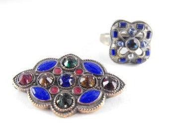 Vintage Brooch Ring To Match Older Brass Metals Rhinestones Enamels Older Pieces Unusual Designs