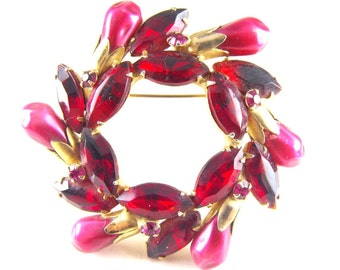 Rhinestone Brooch Open Circle Wreath Design Pearl Like Rose Red Beads Deep Red Rhinestone Navettes