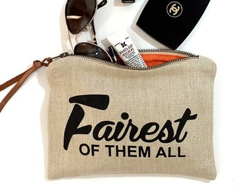 Fairest of Them All  - Make - Up Case, Cosmetic Case, All Purpose Clutch - Wheat/ Black Combo