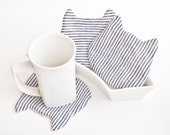 Cat Coasters for cups, set of 4, Fabric Drink Coaster