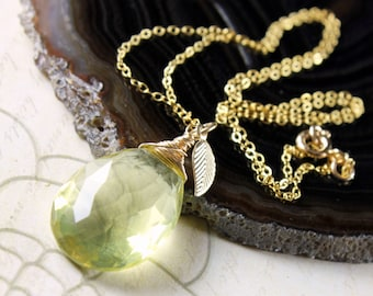 Lemon Quartz Necklace, 14K goldfill wire wrap, yellow gemstone pendant, gold leaf charm, boho chic necklace, holiday gift for her
