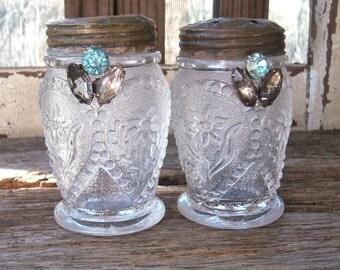 EAPG Salt Pepper Shakers, Antique 1800's Crystal Cut Glass Pattern Glass