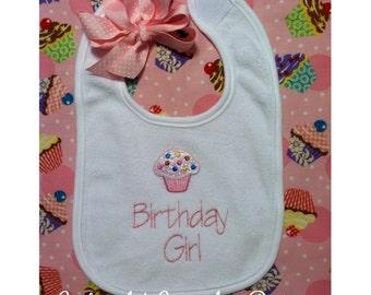 Birthday Girl Bib - Cupcake Birthday Bib