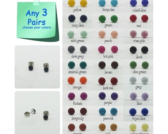 Any 3 Pairs - 4mm Matte Dot Stud Earrings - Choose Your Colors - Tiny Simple Matte Earrings - Matte Dot Post Earrings - Dot Ear Studs