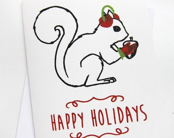 Holiday Squirrel - Hand Pulled Screen Print Card