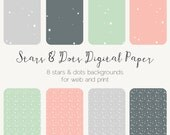 Stars Dots Confetti Seamless Background Digital Paper Seamless Pattern Scrapbook Paper Web Tiles Printable Paper Bundle