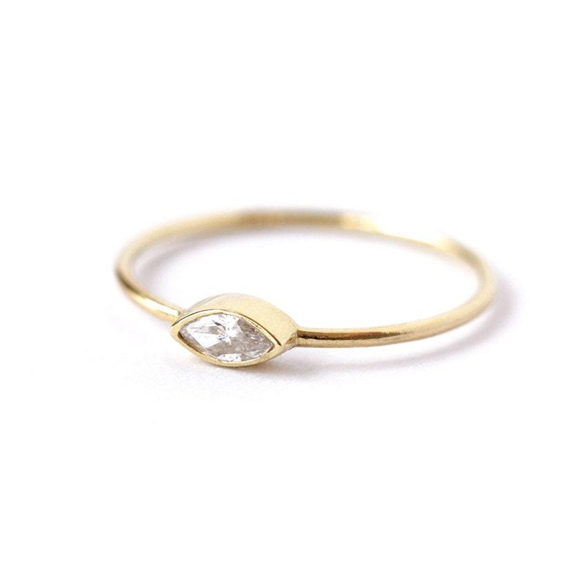Marquise diamond engagement ring minimalist engagement ring for Wedding ring minimalist