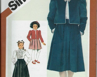 Simplicity 6225 Girls Skirt, Blouse and Lined Jacket Pattern, Size 7 & 14 UNCUT