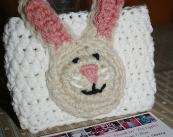 Bunny Coffee Cup Cozy,  Cotton & Acrylic, Travel Sleeve, Java Jacket, Latte or Mocha, Fits 12, 16 or 20 oz cups.