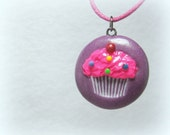 Purple Cupcake Necklace, Polymer Clay Jewelry, Pendant