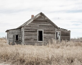 Old Abandoned House Photography, Rustic Landscape Wall Art, Vintage Farmhouse Style Decor, Weathered Wood, Brown & Gray |'What Once Was'