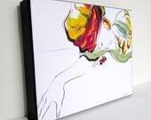 "Beautiful contemporary canvas art. Fashion drawing titled Secret. 10""x8"""