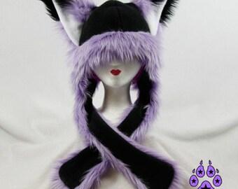 Pawstar FOX YIP Hat III You Pic Color White Black Lavender Purple Pastel kitsune Puffet Hat warm rave fleece Faux Fur Wolf Animal ear 1751