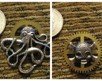 Clock Parts. Gothic STEAMPUNK JEWELRY Octopus/Skull Pin/Brooch/Pendant/Hat Pin. ALTERED Art Jewelry.