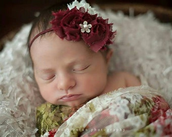 baby headband...newborn headband..baby girl headband...burgundy headband..newborn headband..girl headband..photography prop