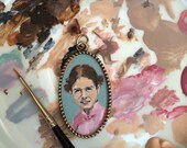 Custom Hand painted necklace with Portrait of your child. Oval pendan.
