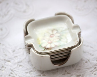 Vintage Ash Tray Set with Caddy, Florals