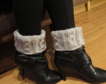 Knit Boot Cuff, Light Gray Chunky Leg  Warmers  - raincity boot, available in other colors