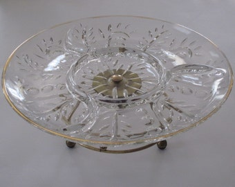 Vintage Glass Relish Condiment Lazy Susan Serving Dish