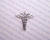 3 Antique Silver Large Caduceus Medical Pendants Charms