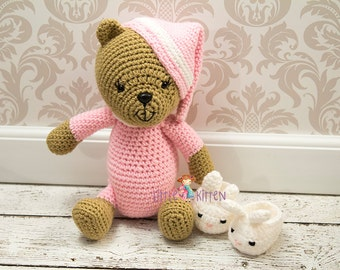 Sleepy Pink Bear Crochet Plush Toy - Ready to Ship
