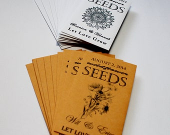 Flower Seeds, Seed Packets, Wildlfower Seeds, Sunflower Seeds, Fall Wedding, Summer Wedding, Baby Shower Favors, Seed Packet 1-4 Sets