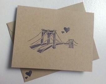 Handmade Brooklyn Bridge Love Cards / Stationery (set of 5)