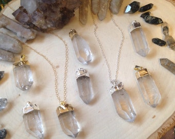 QUARTZ CRYSTAL - Sterling or gold filled layering necklace - you choose length - limited quantity