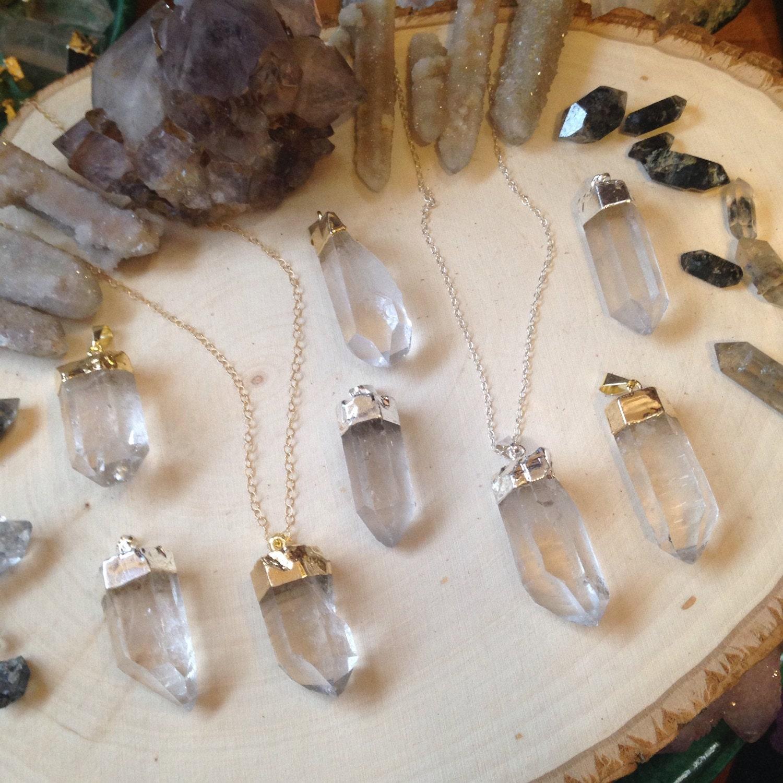 quartz crystal sterling or gold filled layering necklace
