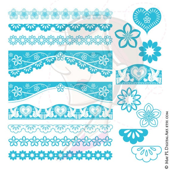 Turquoise Mexican Banner Clipart Teal Papel Picado Clipart