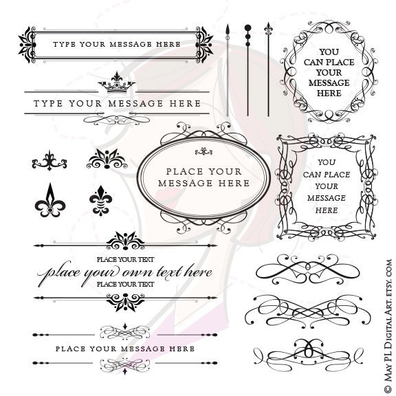 Flourish Frame Clipart Swirl Calligraphy Oval Ornate Text