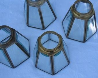 Vintage leaded glass chandelier shades terrarium display