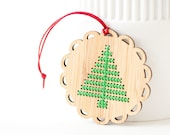 DIY Christmas Ornament Kit - Bamboo Cross Stitch Ornament - Modern Christmas Tree Pattern