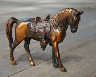 Well Traveled - Vintage 1940s Trophy Craft Solid Metal Copper Plated Parade Horse