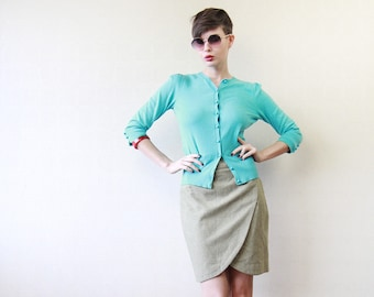 Light green wool tulip pencil mini skirt XS