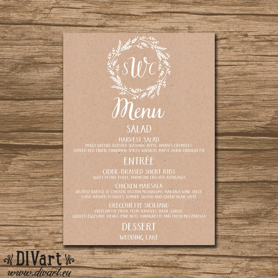 Nautical Wedding Menu Rehearsal Dinner Menu Reception Menu: Rustic Wedding Menu Rehearsal Dinner Menu Bridal Shower