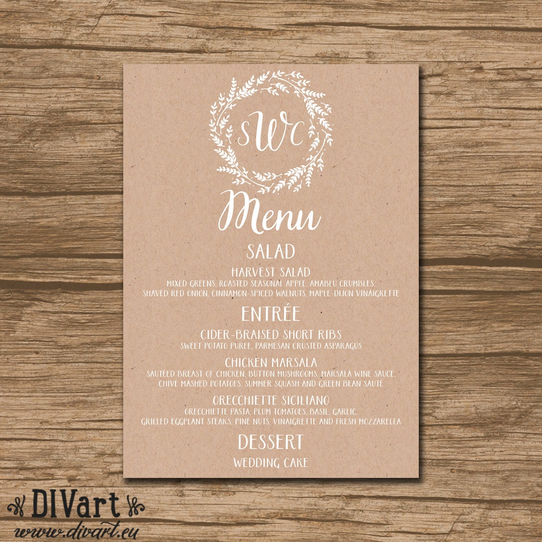 Printable Wedding Menu Rehearsal Dinner Menu Reception Menu: Rustic Wedding Menu Rehearsal Dinner Menu Bridal Shower
