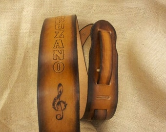 Great gift Genuine Leather Hand-Made Guitar Strap with Treble clef in Buckskin and other colors