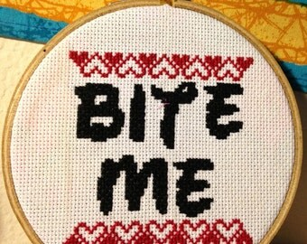 Bite Me Framed Cross Stitch