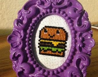 Tiny Burger Framed Cross Stitch