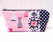 High Fashion Pink and Black Cosmetic Bag - Pink Dresses Cosmetic Bag - Small Zippered Pouch