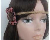 Aztec Flower forehead headband, Boho Headband, Flower Child Headband, Hippie Headband, hemp headband, Braided Headband, Gypsy Headband