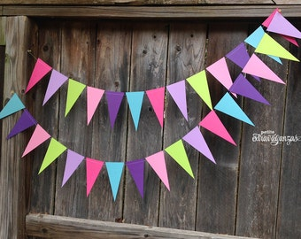 Cupcake Sprinkles Pennant Banner/ Triangle Garland- Bright Pink, Lavender, Lime, Light Pink, Purple, Robin's Egg Blue